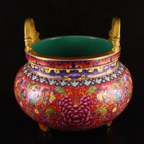 Chinese Gilt Gold Famille Rose Porcelain Incense Burner