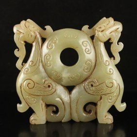 Hand Carved Chinese Hetian Jade Statue - Fortune Beast