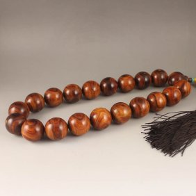 Chinese Hainan Huanghuali Wood Beads Prayer Necklace