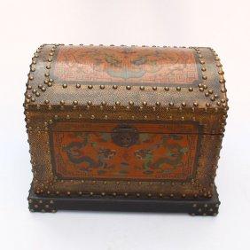 Chinese Hard Wood Lacquerware Treasure Chest