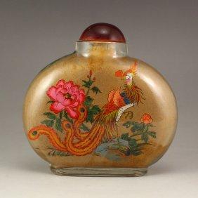 China Beijing/peking Glass Inside Painting Snuff Bottle