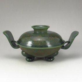 Chinese Green Hetian Jade Double Ears Incense Burner