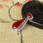 18K White Gold Inlay Red Jadeite Diamond Pendant