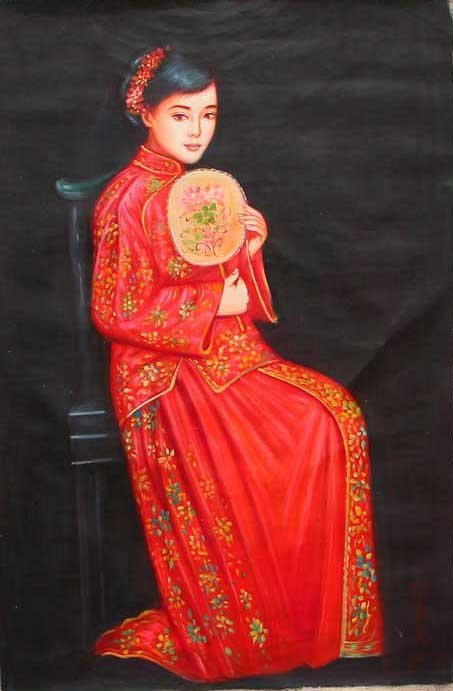 OIL PAINTING DEPICTING A BEAUTIFUL GIRL SCENERY