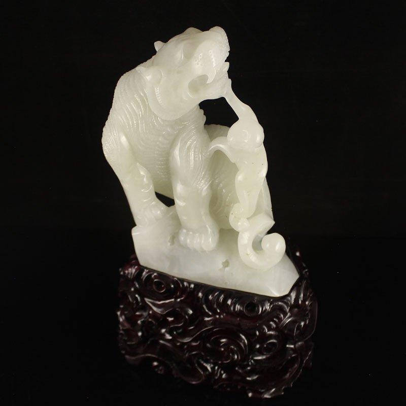 Chinese Natural Hetian Jade Statue - Tiger & Monkey - 5