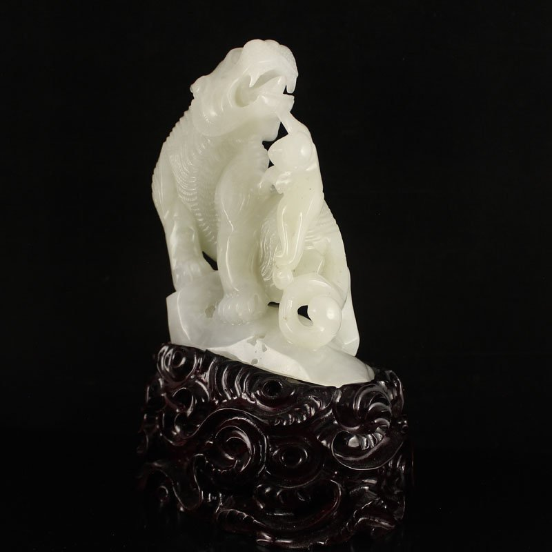 Chinese Natural Hetian Jade Statue - Tiger & Monkey - 6