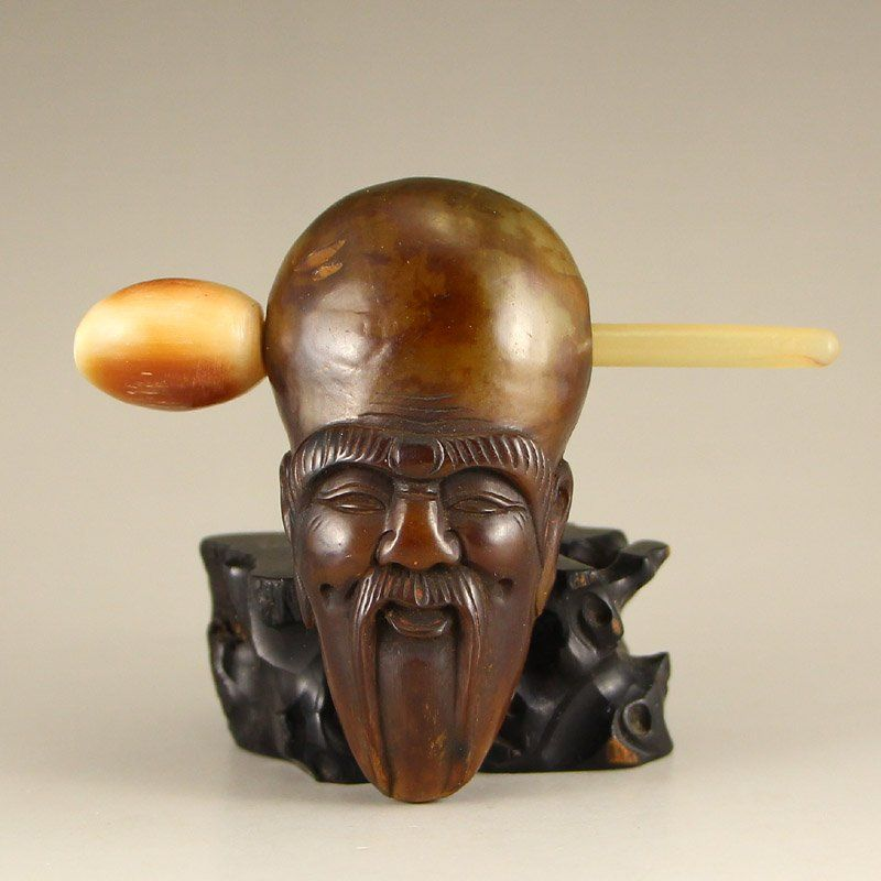 Vintage Chinese Ox Horn Buddhism Prayer Tool