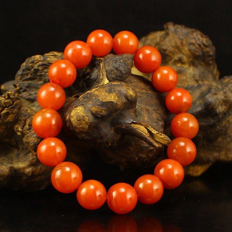 Chinese Nanhong Agate Beads Bracelet