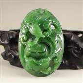 Chinese Green Hetian Jade Pendant  Eagle  Fish