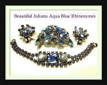 D&E Juliana Aqua & Aurora Borealis Vintage Rhinestone