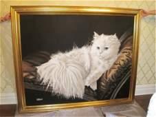 Purr-fect Vintage Cat Painting Signed Letterman