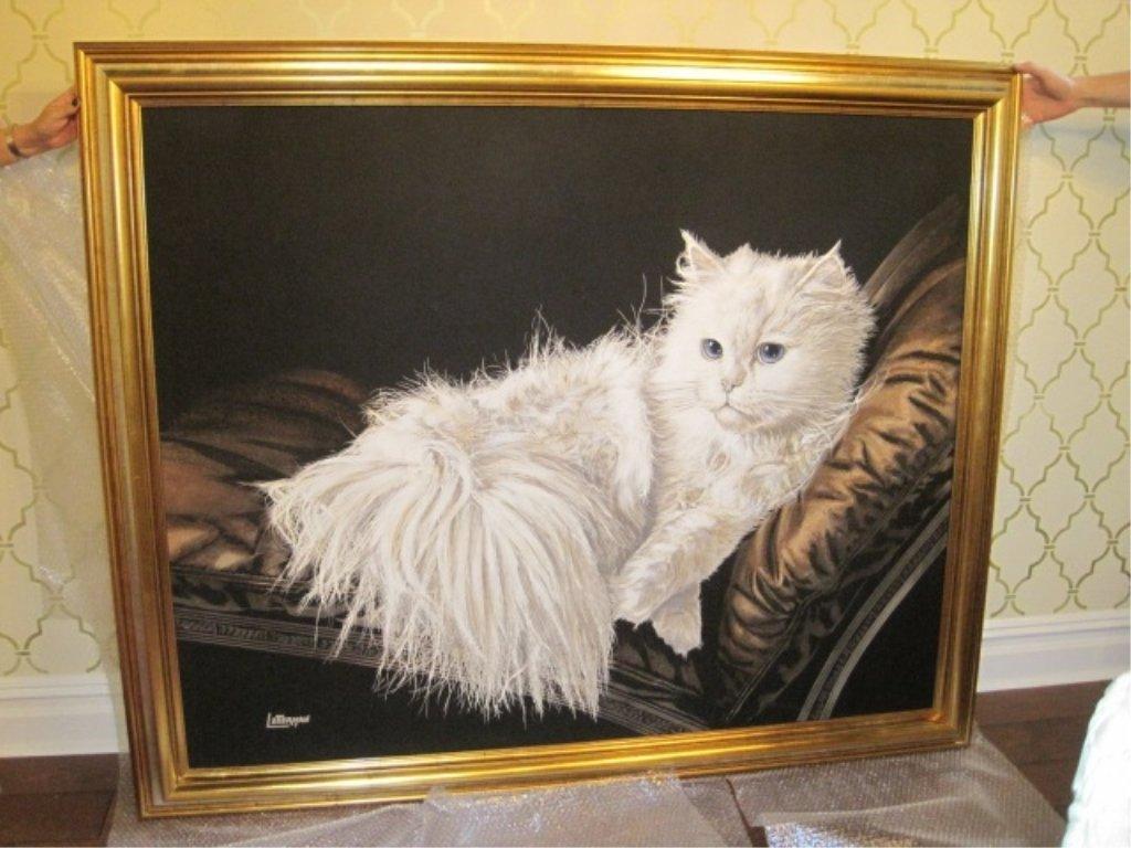 Purr Fect Vintage Cat Painting Signed Letterman