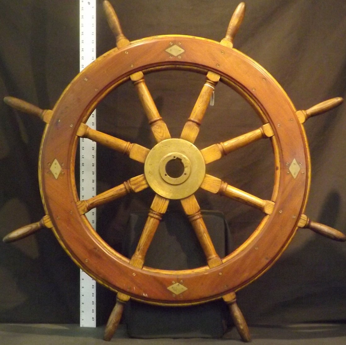 """30"""" Wooden Ships Wheel with Brass Hub"""