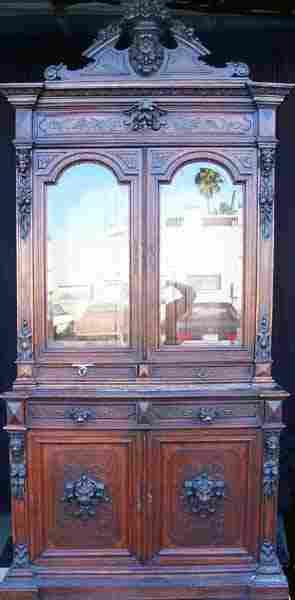 Antique Carved Oak Hunt Case
