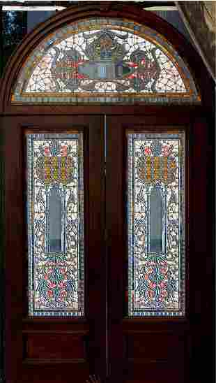 American Door Set w/Arch Transum In Mahogany Door