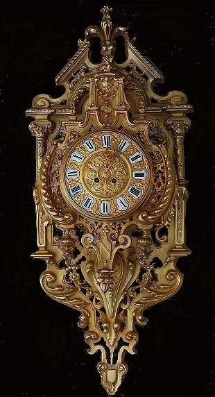 """Elaborate Antique Gothic Revival Clock 35"""""""
