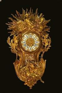 0115: Large 19th Century Ormolu Cartel Wall Clock