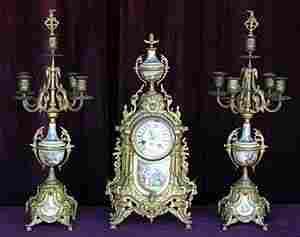 19th Century French Dore` & Porcelain Clock Set