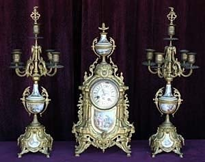 0118: 19th Century French Dore` & Porcelain Clock Set