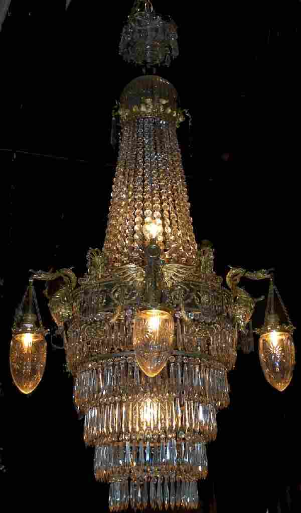19th Century Empire Crystal Chandelier w/5 Hanger