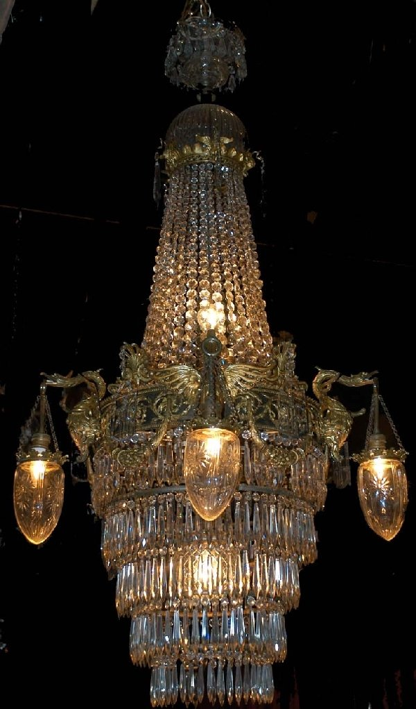 0149: 19th Century Empire Crystal Chandelier w/5 Hanger