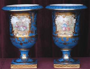 Pair Of 19th Century Painted Porcelain Vases