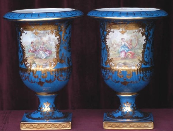 0224: Pair Of 19th Century Painted Porcelain Vases