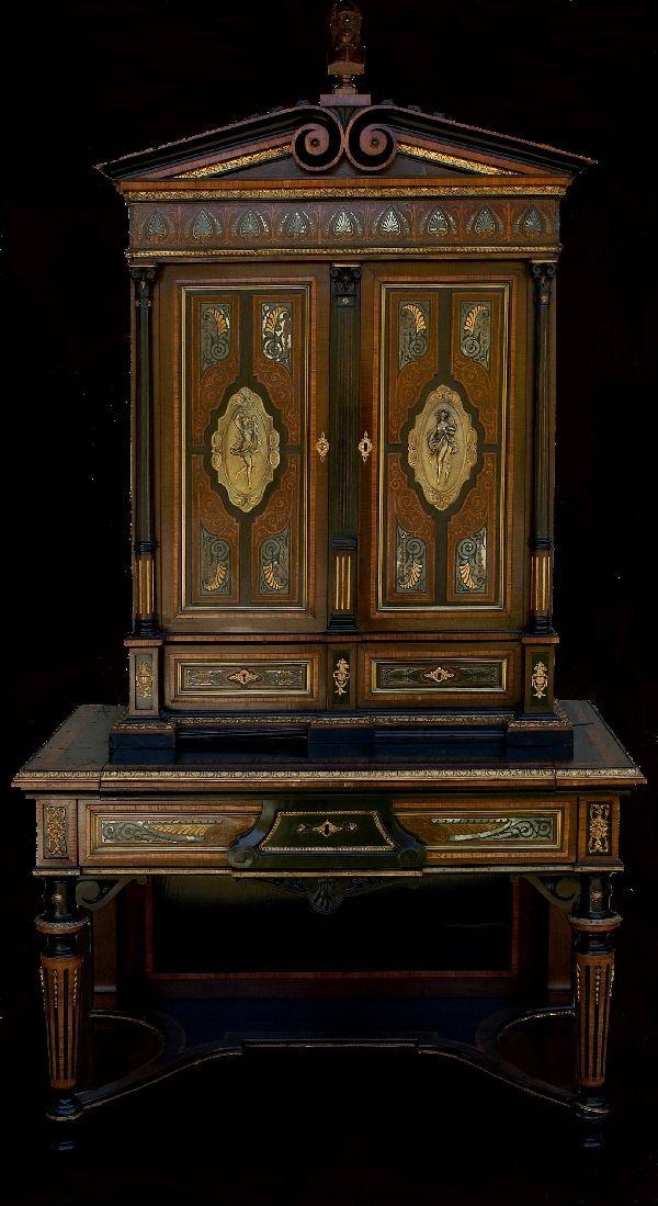 Museum Quality Secretary w/Silver & Exotic Wood