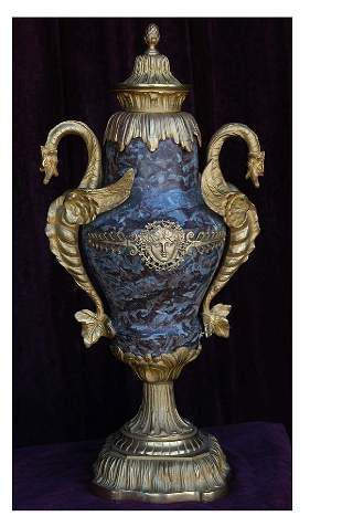 Turn of the Century Gold Dore` Marble Vases/Urns