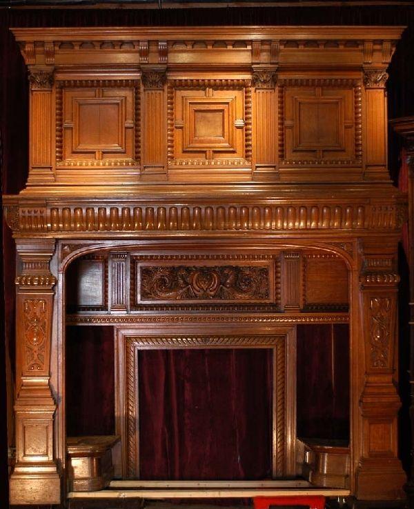 Monumental 19th Century Oak Mantel Interior Seats
