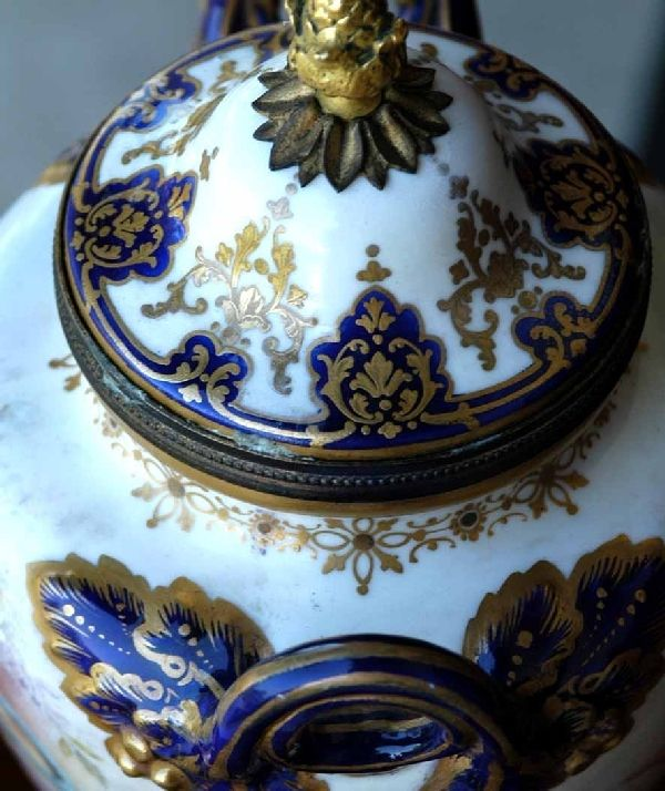 Pair 19th Century Museum Quality Painted Urns