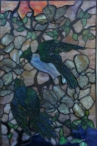 Antique Parrot Window / Style Of Tiffany Studios