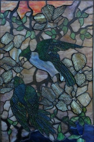 1063: Antique Parrot Window / Style Of Tiffany Studios