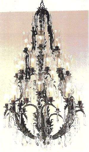 Pair of 7 Foot Crystal & Iron Chandeliers