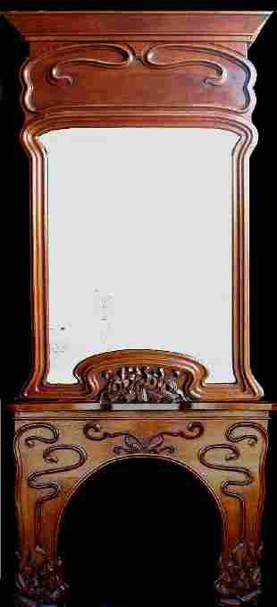 Carved Oak Nouveau Mantel & Mirror France c.1912