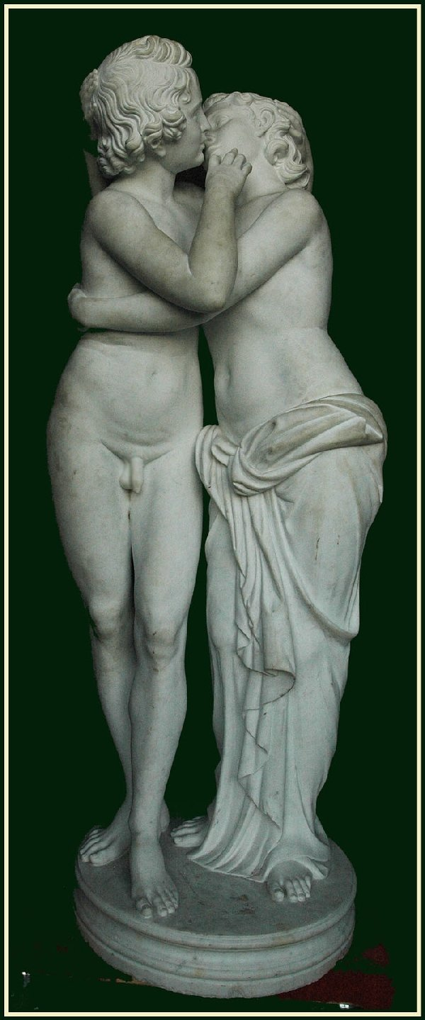 "1291: 19th Century Lifesize Marble ""The Lovers"""