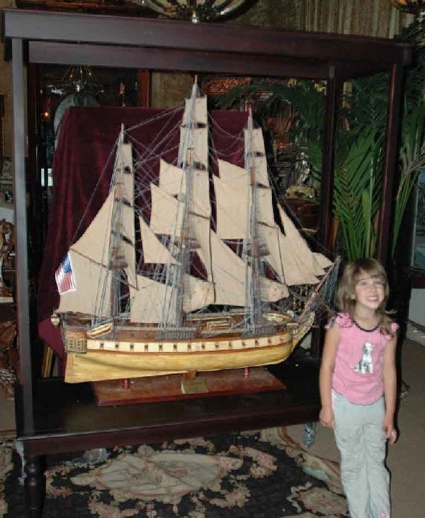 1309: Large Carved Model Ship In Museum Glass