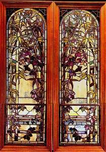 1375: Pair of Authentic Tiffany Bamboo Windows Document