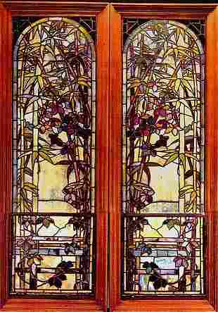 Pair of Authentic Tiffany Bamboo Windows Document