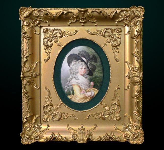 5: Porcelain Plaque in Gilt Frame