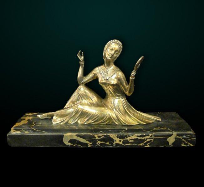10: Art Deco Silvered Bronze Figure of Maiden