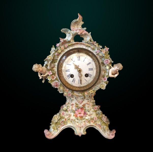 16: 19th Century German Porcelain Figural Clock