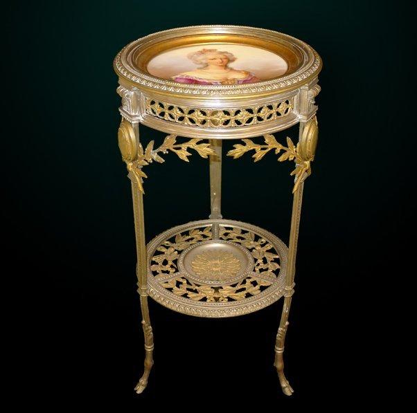 17: 19th Century Bronze Gueridon w/Porcelain Plaque