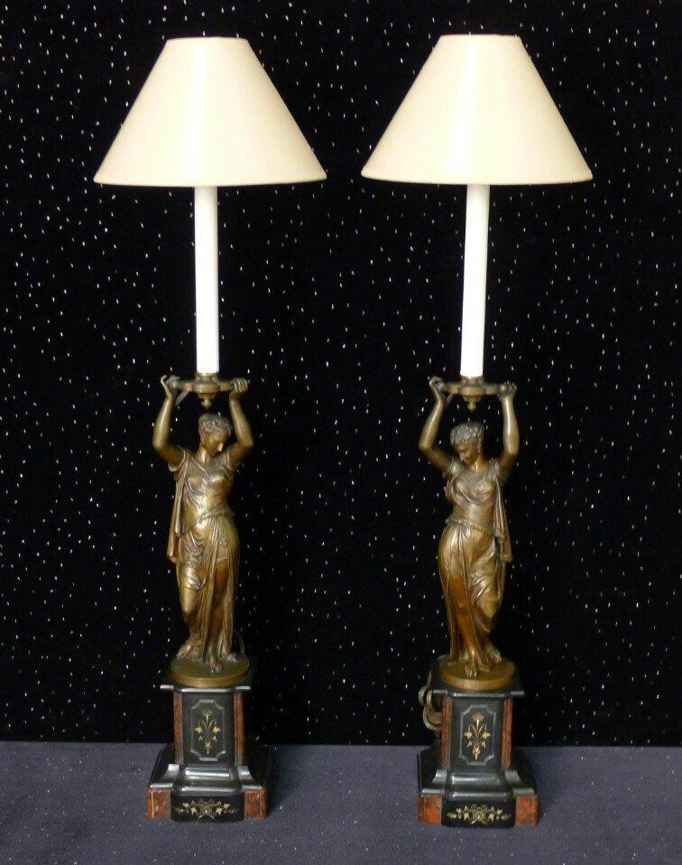 20: Pair of 19th Century Bronze Figural Lamps