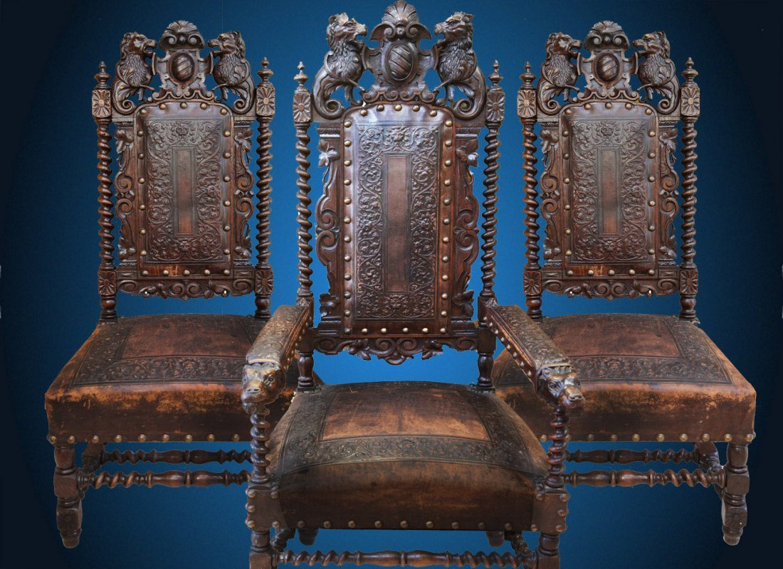 A set of six  19th Century Carved Hardwood Chairs