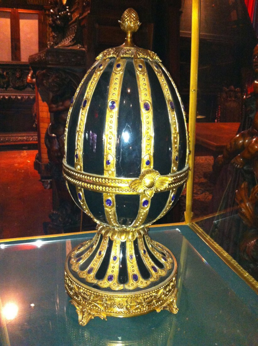 One of a Pair of Palatial Porcelain and Bronze Egg