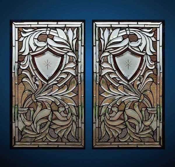 Pair of BEAUTIFUL STAINED GLASS WINDOW