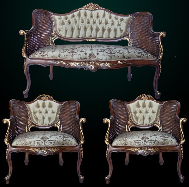 Louis the 15th style petite three piece settee.