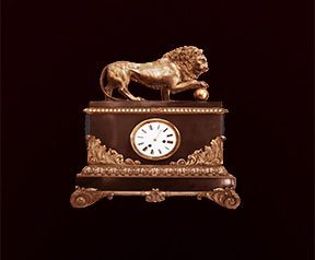 Gilted Bronze and Wood Lion Clock