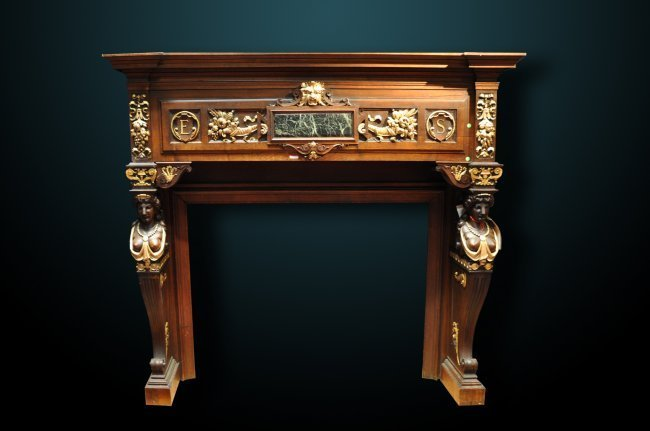 19th Century French Gilded Oak Mantle